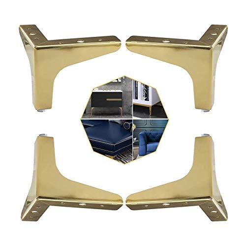 XBSXP 4-teilige Möbel Tischbeine, Dreieckige Möbelbeine Metall Sofas Viereckige Sessel Schrankbeine Ersatz Kleiderschrank Stuhl Couchtisch Möbel Füße (Gold, 10 cm)
