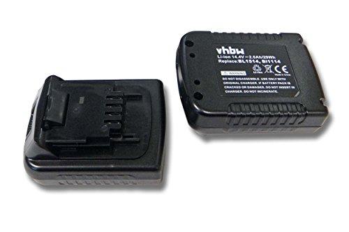 vhbw 2x Li-Ion Akku 2000mAh (14.4V) für Werkzeuge Black & Decker ASL146, ASL146BT12A, ASL146K wie BLACK & DECKER BL1114, BL1314, BL1514, LB16.
