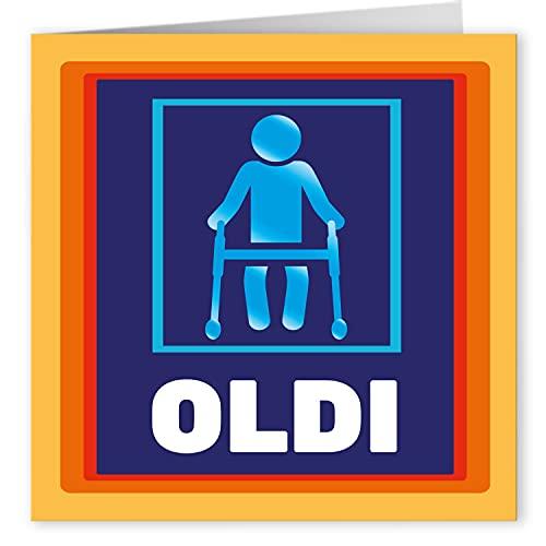 Cult Kitty - Oldi - Lustige Geburtstagskarte für Ihn - Geburtstagskarte für Sie - Geburtstagskarte für Oma oder Opa - Geburtstagskarte für Mama oder Papa - Karte zum Ruhestand - Humor Witz Karte