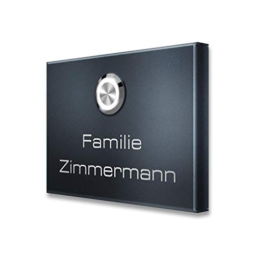 Metzler Türklingel-Schild aus Edelstahl in Anthrazit (RAL 7016 / DB 703) - Aufputz Türklingel inkl. Namens-Gravur - Aufputz-Montage - Größe: 11 x 8 cm