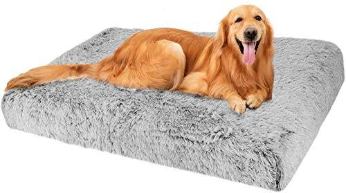 Almohada ortopédica para Perros Grande con colchón de Espuma viscoelástica para Perros Diseño ergonómico Cama Lavable Antideslizante para Perros pequeños y medianos-XXL-120X80CM_Gris
