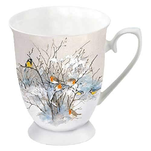 Porzellanbecher Birds on Branches Vögel Meisen Becher Bone China 0,25l Kaffeebecher Weihnachten
