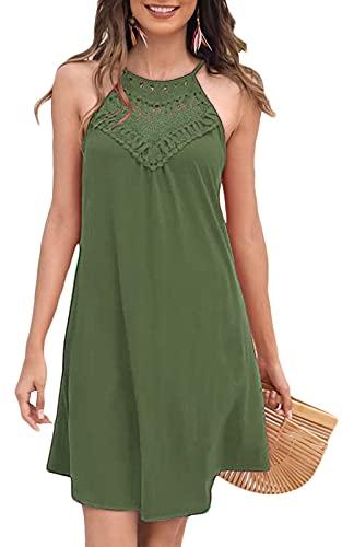 Short Sundresses for Women Casual Summer Sleeveless Beach Vacation Halter Dress Olive L