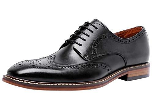 Zapatos de Cordones Derby Hombre Cuero Clásica Brogue Casual Vestir Boda Plano...