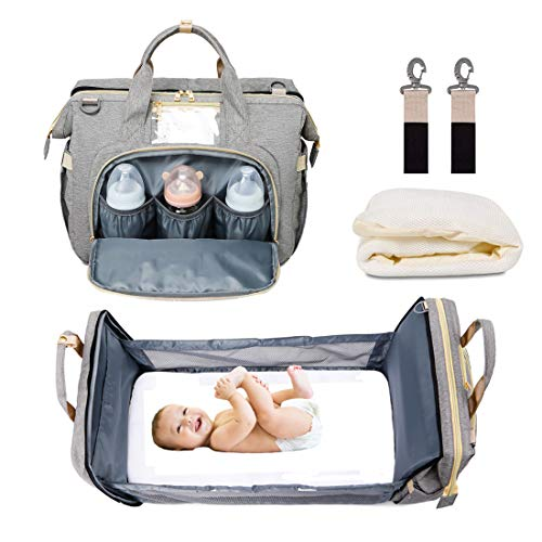 5 in 1 Baby Diaper Bag Backpack Travel Bassinet Foldable Baby Bed Multi-Purpose Portable Mummy Bag with Mattress Large Capacity Waterproof Nappy Bag for Mom Dad