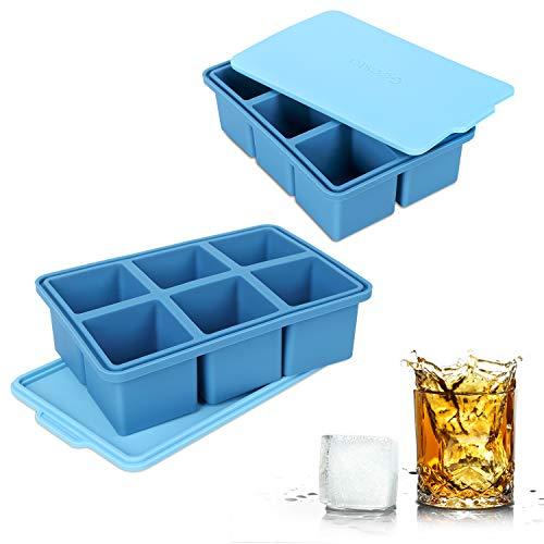 アイスキューブトレイ Lサイズ シリコン製 柔軟 6穴 アイスメーカー ウイスキーやカクテル用 ドリンクを冷やして冷凍 スープスープやソースを (2パック)