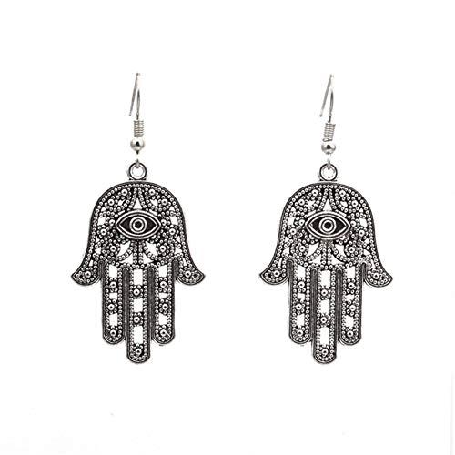 Orecchini pendenti pendenti placcati in argento Sterling con lancette e ciondolo a forma di occhio di Fatima