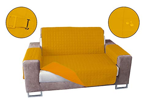 Banzaii Cubre Sofá Impermeable – Funda Sofá Acolchada Reversible – 2 Plazas Amarillo Y Oro para Asiento de 115 a 140 cm