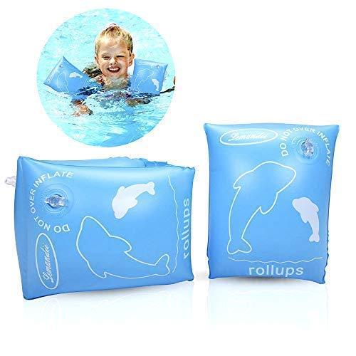 ALIXIN-Brazaletes inflables flotantes Anillos,Flotadores Alas de Agua Brazos,Anillos de natación Brazaletes de Tubos para niños pequeños y Adultos(0-4 años niños, Azul)