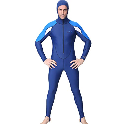 QIMANZI Neoprenanzug Herren mit Kapuze Taucheranzug Lang Ganzkörper Taucheranzug Surf Schwimmen Overall(Blau,S)