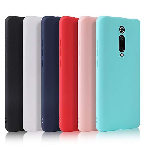 Oureidoo 6X Funda Xiaomi Mi 9T/Mi 9T Pro, Carcasa en Silicona - [ Negro + Blanco Translúcido + Menta Verde + Rojo + Rosado + Azul Claro ]