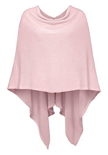 Cashmere Dreams Poncho-Schal aus Baumwolle - Hochwertiges Cape für Damen - XXL Umhängetuch und Tunika - Strick-Pullover - Sweatshirt - Stola für Sommer und Winter Zwillingsherz (rosa)