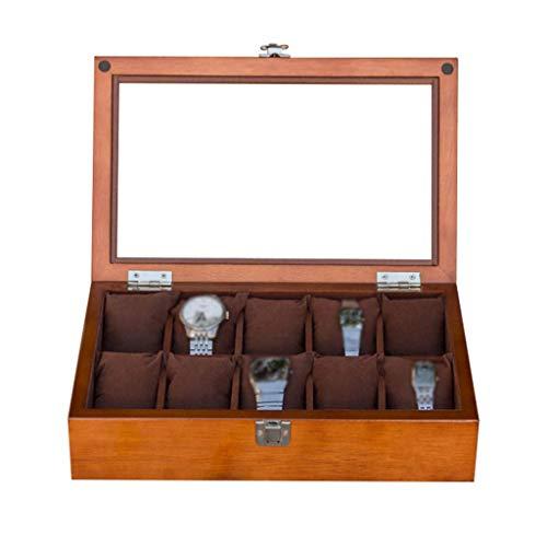 GQSHK GQSHK Hölzerne Uhrenbox Schmuck Aufbewahrungsvitrine Armband Tablett mit 10 abnehmbaren Aufbewahrungskissen, Manschettenknopf-Organizer mit Metallverschluss und oberem Glas (Braun/Schwarz)