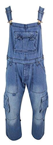 Herren Latzhose Jeans Combat Taschen Gewaschen Hell Blau