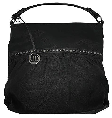Dudlin Shopper Tasche Nieten vorne Handtasche Shopperbag (schwarz)