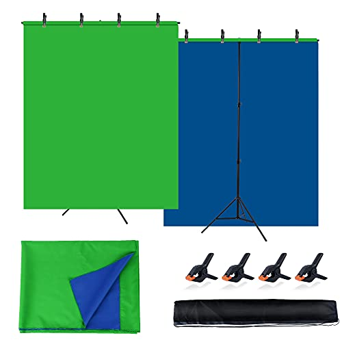 Faichee Blue Green Screen Backdrop with Stand Kit for Zoom Meeting, 5 X 6.5ft Chromakey Blue Screen Green Screen with T-Shape Background Stand for Photography, Video Conferencing, Streaming, Gaming
