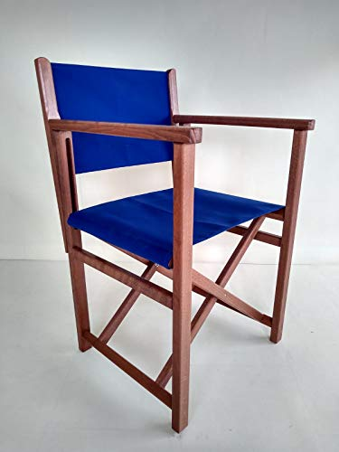 AUTENTICA Silla Menorquina - Silla Director - Silla Plegable en Madera para TERRAZA y Jardin en Color Brandy Y Tela ACRILICA Color Azul