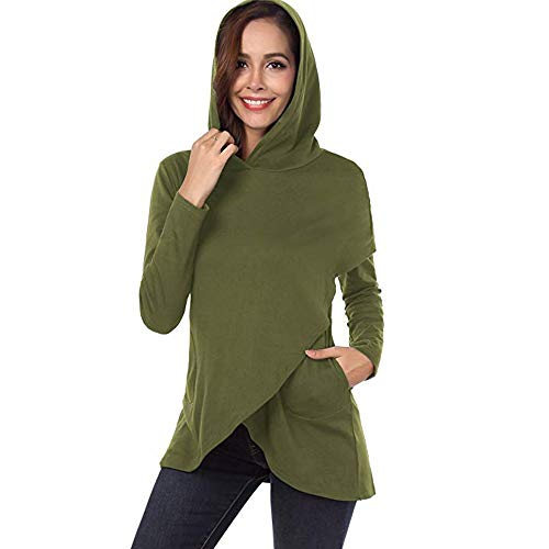 OSYARD Damen Plaid Patchwork Asymmetrische Kapuzenpullover, Frauen Langarm Plaid Hoodies Asymmetrische Saum Pullover Sweatshirt Tops (XL, Grün)