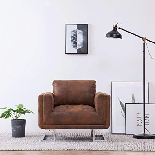 Festnight- Würfel-Sessel Armsessel in Wildleder-Optik | Einzelsofa Wohnzimmersessel | Polstersessel Relaxsessel für Wohnzimmer Schlafzimmer - Braun