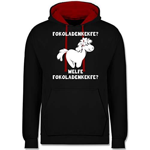 Shirtracer Einhörner - Fokoladenkekfe Einhorn - 5XL - Schwarz/Rot - Geschenk - JH003 - Hoodie zweifarbig und Kapuzenpullover für Herren und Damen