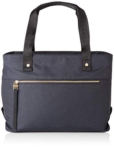 Borbonese Shopping Bag, Borsa Tote Donna, Nero (Nero), 30x27x18 cm (W x H x L)