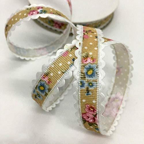 5Y 1.5 - 2.5cm Cinta en relieve con estampado de flores para manualidades hechas a mano Pascua Fiesta de matrimonio Álbum de recortes Deco Regalo Embalaje floral-China, UR18-4 (1.5cm), 5 yardas