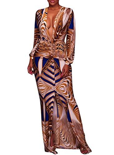 CORAFRITZ Damen Vintage Print Langes Kleid Sexy Tiefer V-Ausschnitt Lange Ärmel Seitenschlitz Maxi Abendkleid Kleid Gr. L, gelb
