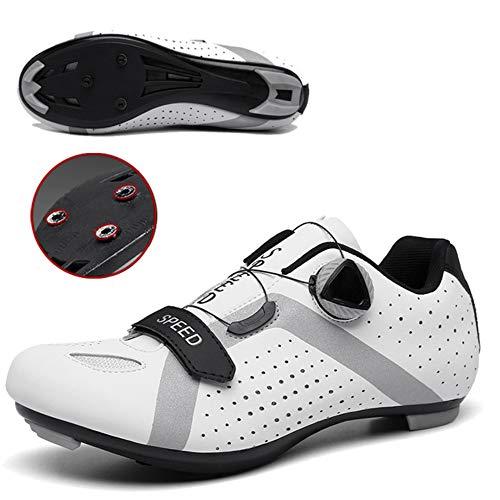 JKC Zapatos de ciclismo para hombres y mujeres con tacos SPD compatibles...