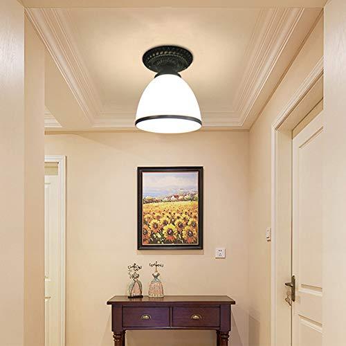 Modern Deckenleuchte Schwarz Flur Deckenlampe Korridor Leuchte aus Opalglas Schirm Flurlampe E27 Fassung Max. 40W Lampe aus Eisen, Innen Decke Licht für Küch Treppen Balkon Beleuchtung Ø15cm