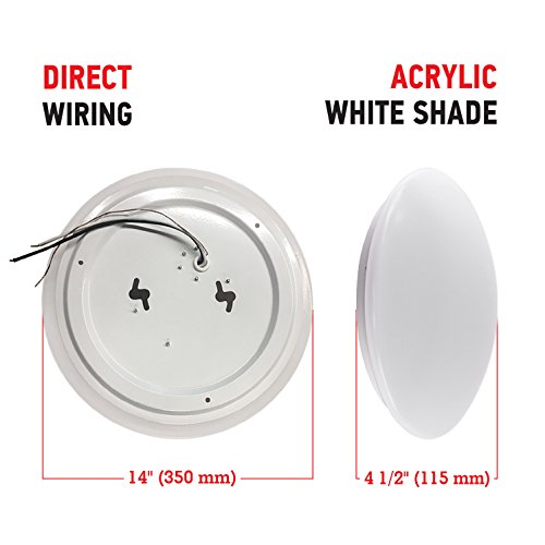 """OSTWIN 14"""" LED Light Fixture-Ceiling Lights for Kitchen Closet Hallway Bathroom Bedroom-Dimmable-Easy Install-25 W (125W Equivalent)-2055 Lm-5000K (Daylight)-Acrylic White Shade-ETL&Energy Star Listed"""