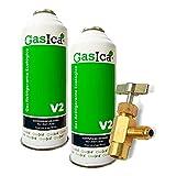 Todoelectrico Pack 2 Botellas Gas refrigerante orgánico V2 Sustituto R22/R407 R410A con Lave para Recarga Aire Acondicionado 1/2-1/4