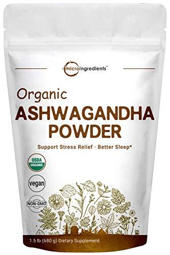 Pure Organic Ashwagandha Root Powder,1.5 Pound (24 Ounce), Adaptogenic Ayurvedic Herbal Supplements for Stress Relief and Mood Balancing, Premium Ashwagandha Organic Powder, Vegan Friendly