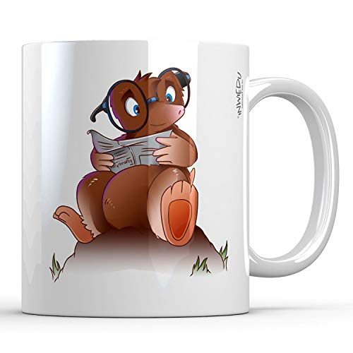 INWIEDU - Keramik Tasse Maulwurf Archimedes liest - 330 ml - Ø 80 H 96 mm - Kaffee Becher Tee