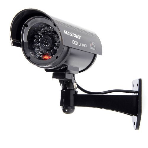 Masione Simulated Surveillance Cameras Wireless IP Security Fake Dummy IR LED Camera Night/Day Vision Look Bullet CCTV Imitation Bullet Flashing Blinking Red Infrared LEDs Indoors Outdoors Black