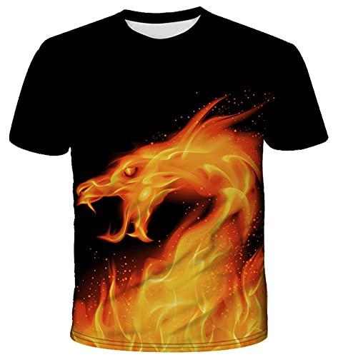 GOLOFEA Camiseta de Manga Corta de Cuello Redondo para Hombre, impresión Digital 3D luz de dragón de dragón de dragón Personalidad de Moda 120
