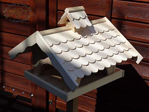 Vogelhaus,groß,mit Nistkasten,BEL-X-VONI5-natur002 Großes wetterfestes PREMIUM Vogelhaus VOGELFUTTERHAUS + Nistkasten 100% KOMBI MIT NISTHILFE für Vögel WETTERFEST, QUALITÄTS-SCHREINERARBEIT-aus 100% Vollholz, Holz Futterhaus für Vögel, MIT FUTTERSCHACHT Futtervorrat, Vogelfutter-Station Farbe natur, MIT TIEFEM WETTERSCHUTZ-DACH für trockenes Futter - 7