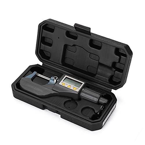 Romacci Micrômetro eletrônico externo de 0-25mm 0,001mm com grande tela LCD Micrômetro digital Calibre digital eletrônico de espessura
