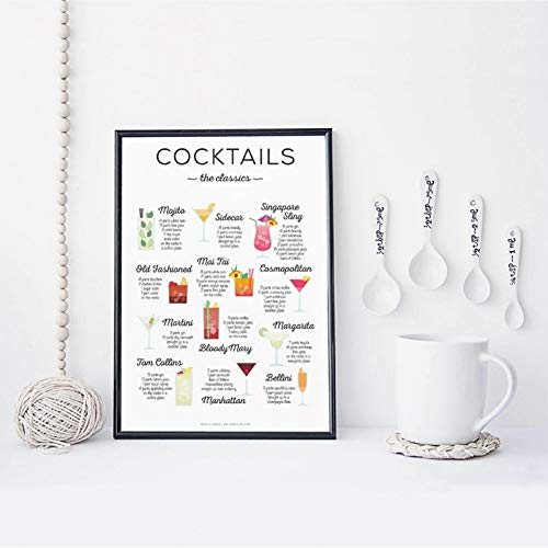 N / A Stampe Decorative su Tela Cocktail I Classici Ricetta Stampa Bar Poster Cocktail Come Guidare Immagine Arte Tela Pittura Regalo Cucina Decorazione da parete-60x80cm