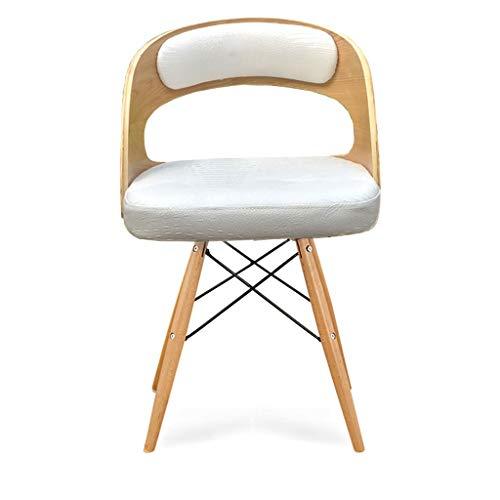 Witte bureaustoel, houten + lederen stoel, vintage retro eetkamer stijl keuken bureaustoel, moderne lounge stoel met rugleuning