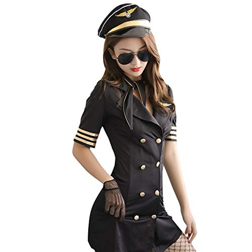 Cestbon Teiliges Flugbegleiter-Kostüm Für Damen, Sexy Stewardess-Kostüm Mit Kapitänsmütze,Schwarz