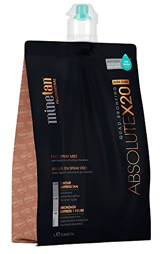 MineTan Spray Tan Solution - Absolute X20 Pro Spray Mist - Ultra Dark Salon Professional 1 Hour Express Tan, 33.8 fl oz