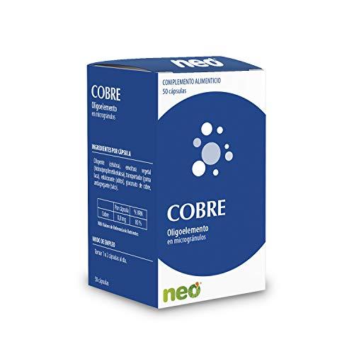 Neo Cobre - 50 cápsulas   Complemento Alimenticio para la Piel y Huesos   Ayuda a la formación De Colágeno Natural   Sin Alérgenos