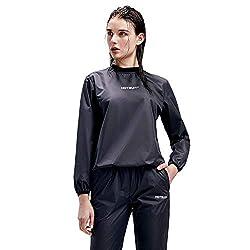 powerful HOTSUIT Sauna Suit Women Weight Loss Gym Workout Sauna Jacket Pants Track Suit, Black, XL