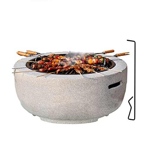 Outdoor Fire Pit, Ø23in Large 4 in 1 Fire Bowl with BBQ Grill Shelf/Firepit Garden Patio Heater/Ice Pit/Garden Table Artistic Magnesium Oxide Base for Camping Patio Picnic
