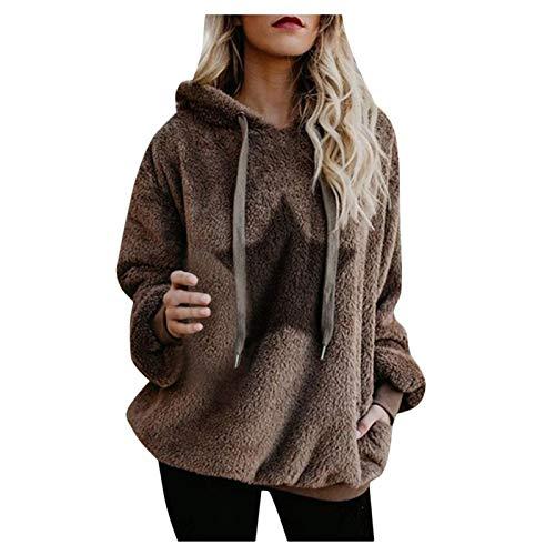 Womens Hooded Sweatshirts Fuzzy Fleece Printed Pullovers Tops Casual Loose Hoodies Drawstring Long Sleeve Shirts Khaki