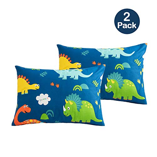 Sivio Toddler Pillowcases, Dinosaur Printing Pillow Cases, 14x19 for 13x18, 12x16 Pillow, Ultra Soft 100% Cotton Bedding Pillow Case Cover for Child, 2 Pack