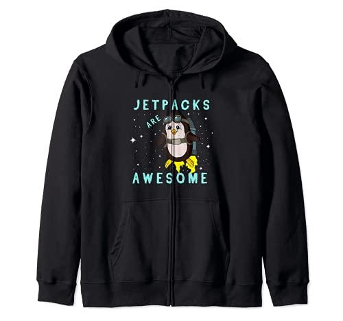 Funny Jetpacks Are Awesome Penguin Flying Bird Rocket Birdie Zip Hoodie