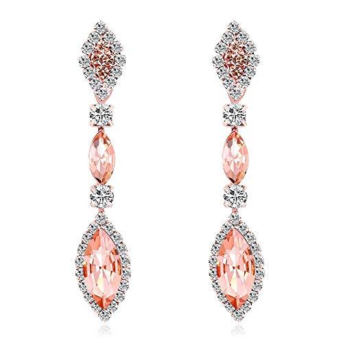Elegantes pendientes colgantes con diamantes de imitación de gota de agua para mujer, joyería de boda regalo