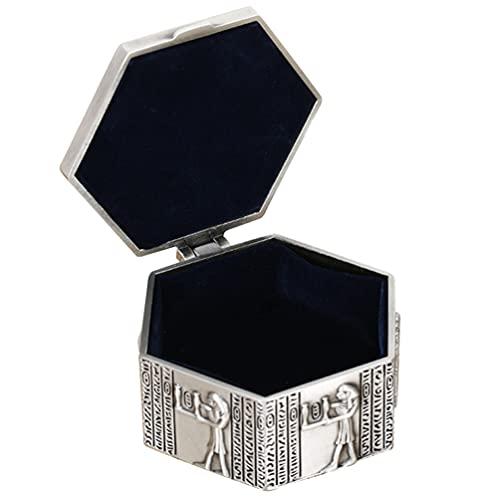 PIXNOR Caja de Joyería Antigua Baratija de Metal Tesoro Cofre Joyas Organizador Pendientes Collar Anillo Titular Caja Recuerdo Caja de Regalo