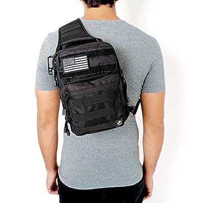 Gecko Tactical Sling Backpack, Small Military Bag, Free American Flag Patch & Bottle Opener. Molle shooting range shoulder bag.